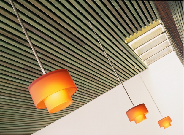 Los angeles modern restaurant design by dutton architects - Wood slat ceiling system ...